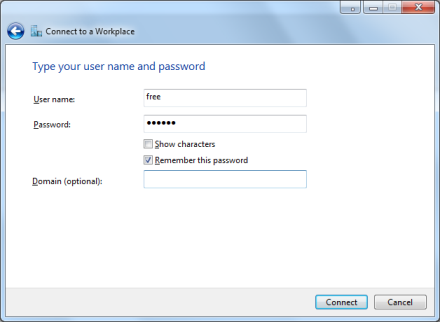 Configure Free VPN service account for latest Win7 OS